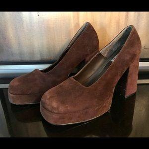 Vintage Aldo Chocolate Brown Suede stacked Heel